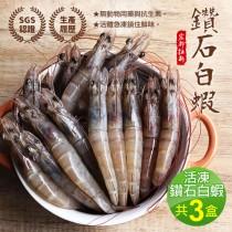 【築地一番鮮】活凍鑽石白蝦3盒(750g/約45隻)免運